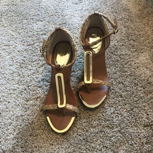 Mia wedge heels with gold accessories